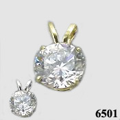 14k Gold Moissanite Pendant - Product Image