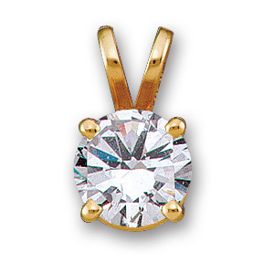 14k Gold Basket Style Round Brilliant Moissanite Solitaire Pendant  - Product Image