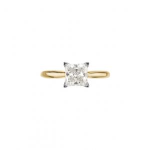 14k Gold Charles & Colvard Moissanite V Shaped Prongs Princess Engagement Ring - Product Image
