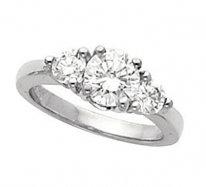 14k Gold Moissanite 3 Stone wedding set Ring Band - Product Image