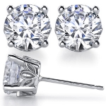 14k Gold Round Brilliant Charles & Colvard Moissanite Antique / Scroll Style Earrings - Product Image