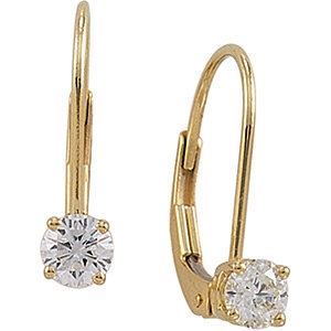 14k Gold Round Brilliant Moissanite Euro Lever-back Earrings - Product Image