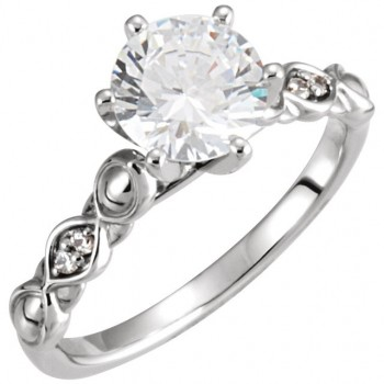 14k Gold Round Brilliant Moissanite Fancy Solitaire Wedding Set - Product Image