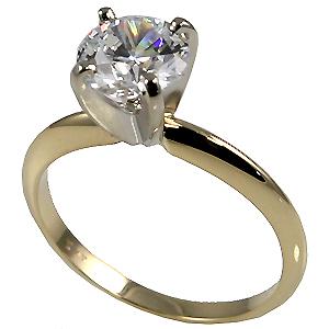 14k Gold Round Brilliant Moissanite 4 Prong Tiffany Style Engagement Ring - Product Image