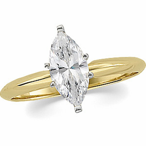 Solid 14k Gold Marquis Cut Charles & Colvard Moissanite Tiffany Engagement Ring - Product Image