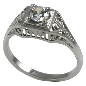 14k Gold 1/2 ct Moissanite Antique/Deco Solitaire Ring - Product Image