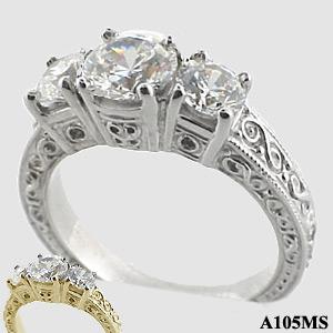 Moissanite Antique/Deco Infinity Desgin Fancy 3 stone Ring - Product Image
