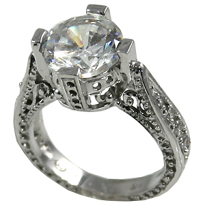 14k Gold 3ct Fancy Antique/Victorian Moissanite Ring - Product Image