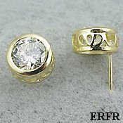 Solid 14k Gold Filigree Bezel Moissanite Earrings - Product Image