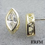 Solid 14k Gold Marquis Cut Filigree Bezel Moissanite Earrings - Product Image