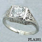 Platinum 1ct Moissanite Antique/Deco style Engagement ring - Product Image