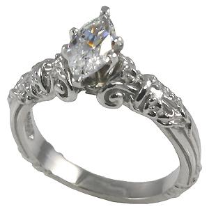 14k Gold Marquis Antique Engagement Moissanite Ring