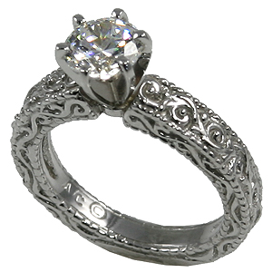 14k Gold Moissanite Antique Victorian Engagement Ring - Product Image