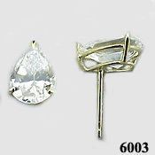 Solid 14k Gold 2 Carat Pear Cut Moissanite Earrings - Product Image