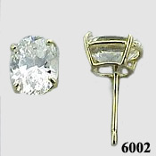 Solid 14k Gold 2 Carat Oval Cut Moissanite Earrings - Product Image