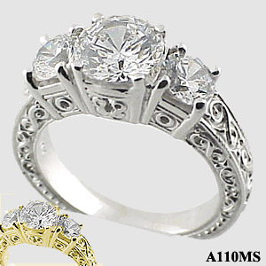 Antique Style 2 1/2  CTW Moissanite Fancy 3 stone Ring - Product Image