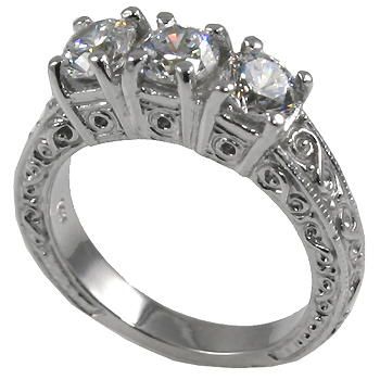 14k Gold 3 Stone Moissanite Antique Anniversary Band - Product Image