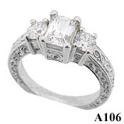 Solid Platinum 3 Stone Antique Engagement Ring Emerald Cut - Product Image