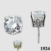 14k Gold Charles & Colvard Moissanite Scroll Style Earrings - Product Image