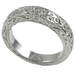 14k Gold Antique Victorian Moissanite Wedding Band Ring - Product Image