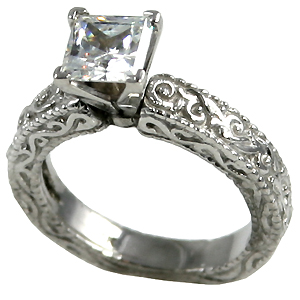 Solid 14k Gold Antique Victorian Princess Cut Moissanite Solitaire Engagement Ring or Wedding Set! - Product Image