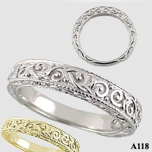 Platinum Antique/Victorian Wedding Anniversary Band Ring - Product Image