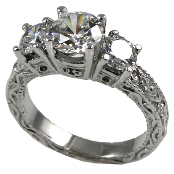 14k Gold 2 ctw 3 Stone Victorian Moissanite Ring - Product Image