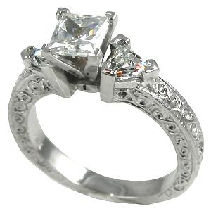 14k Gold Antique/Deco Princess Trillions Moissanite ring - Product Image