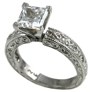 14k Gold Moissanite Rings Antique Style Engagement Ring - Product Image