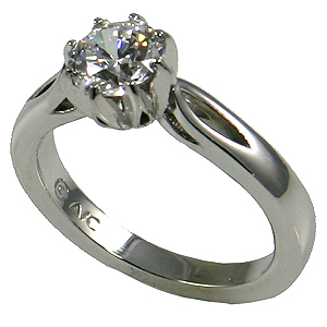 14k Gold Round Brilliant 8 Prong Moissanite Engagement Ring Wedding Set - Product Image