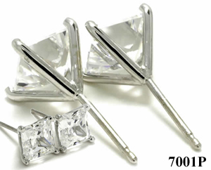 14k Gold 4 Prong Princess Cut Charles & Colvard Moissanite Stud Earrings - Product Image