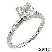 14k Gold Moissanite Cushion Cut Tiffany Style Engagement Ring - Product Image