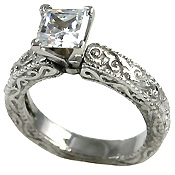 Sterling Silver Antique Victorian Engagement Moissanite Ring - Product Image