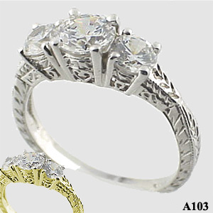Sterling Silver 3 Stone Antique/Deco style Moissanite Ring - Product Image