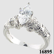 Sterling Silver Marquis Cut Antique Style Engagement Moissanite Ring - Product Image