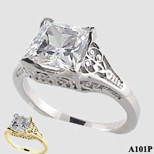Sterling Silver 2ct Princess Moissanite Antique/Deco style ring - Product Image