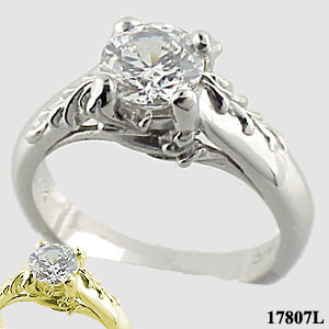 Sterling Silver Antique/Floral Solitaire Moissanite Ring - Product Image