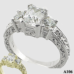 Sterling Silver 3 Stone Antique/Deco Emerald Cut Moissanite Ring - Product Image