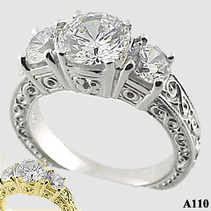 Sterling Silver 2.5ctw 3 Stone Antique/Deco Moissanite Ring - Product Image