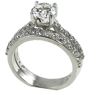 14k Gold 1.25 ct Wedding Set Moissanite Band Ring - Product Image