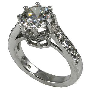 14k Gold Unique Side accent Moissanite Solitaire Ring - Product Image