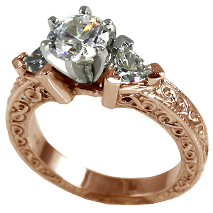 14k Rose Gold Antique/Deco Round Trillions Moissanite ring - Product Image