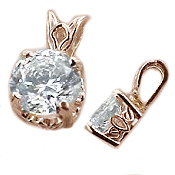 14k Rose Gold Antique/Scroll Style Moissanite Pendant - Product Image