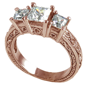 14k Rose Gold 2 ctw 3 Stone Antique Princess Moissanite Ring - Product Image