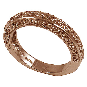 14k Rose Gold Antique Fancy Filigree Wedding Band Ring - Product Image