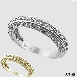 14k Rose Gold Antique Fancy Filigree Wedding Band Ring Moissanite Jewelry Rings In
