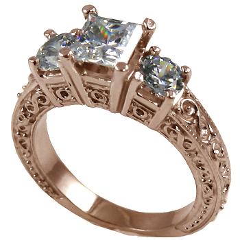14k Rose Gold 2 ctw 3 Stone Antique Princess/Round Moissanite Ring - Product Image