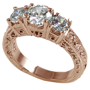 14k Rose Gold 2 ctw 3 Stone Antique/Deco Moissanite Ring - Product Image