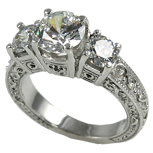 14k Gold 2.5 ctw 3 Stone Antique/Deco Band Wedding Moissanite Ring - Product Image