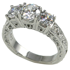 14k Gold 2ctw 3Stone Antique Wedding Band Moissanite Ring - Product Image